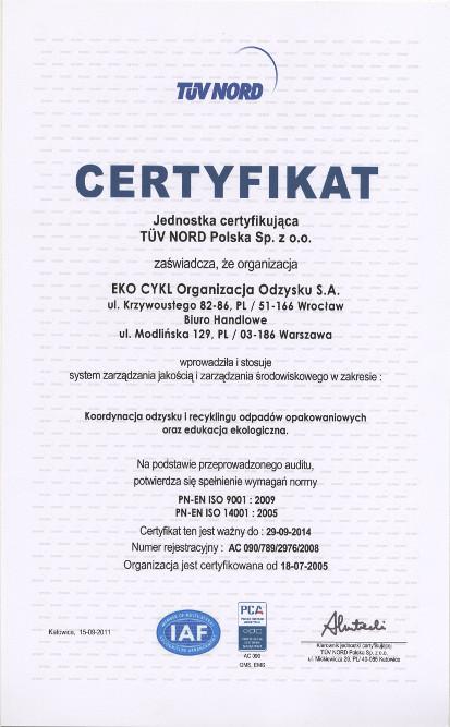 Certyfikat dla Eko Cykl wydany przez TUV NORD Polska Sp. z o.o.