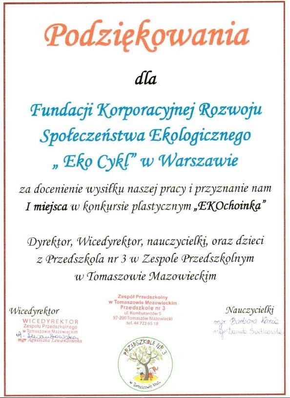 Podziękowanie Przedszkole w Tomaszowie Mazowieckim